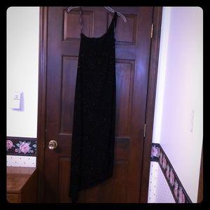 One Shoulder Asymmetrical Hem Black Gown